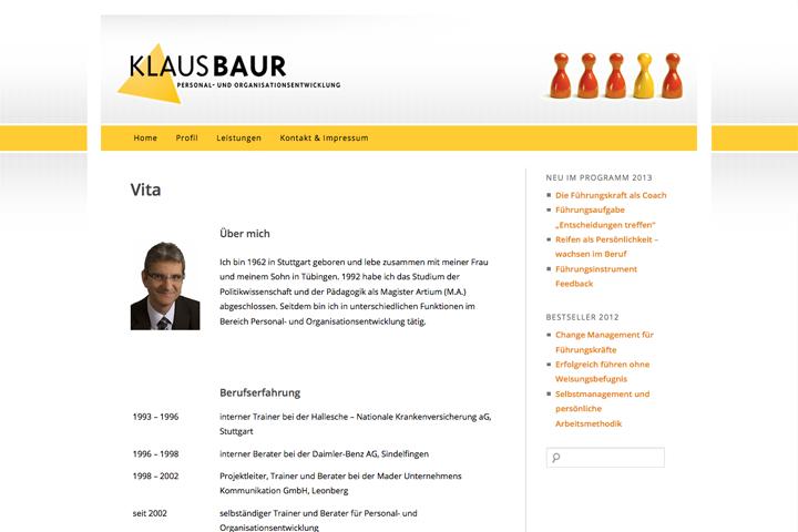 Klaus Baur / Webdesign