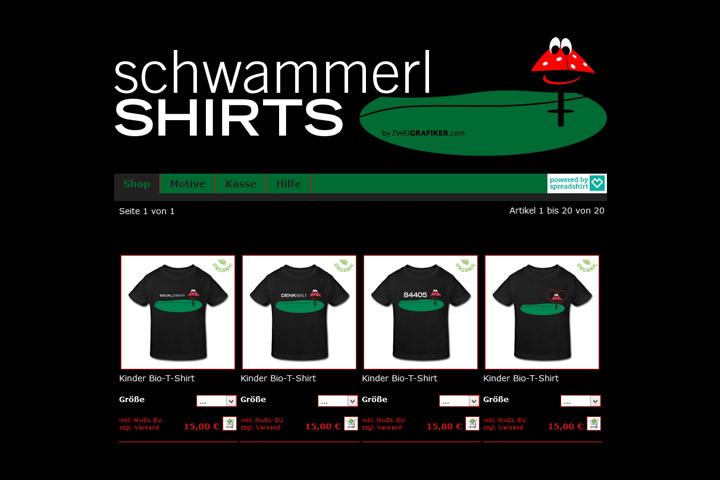 schwammerlSHIRTS / Webdesign