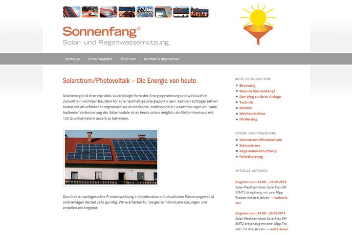 Sonnenfang / Webdesign