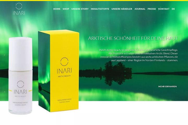 Webdesign www.inari-cosmetics.com