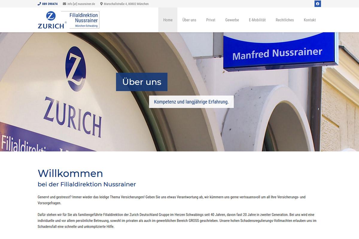 Zurich Filialdirektion Nussrainer / Webdesign
