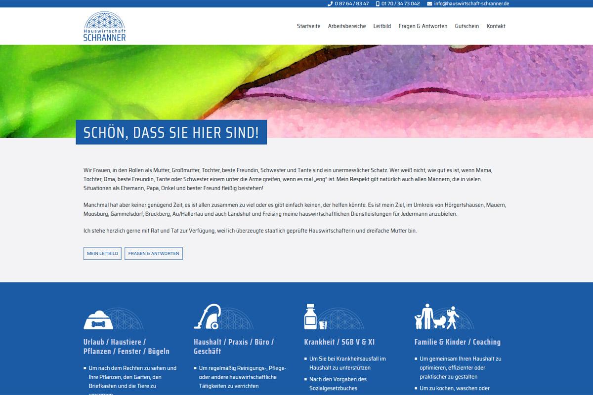Hauswirtschaft Schranner / Webdesign