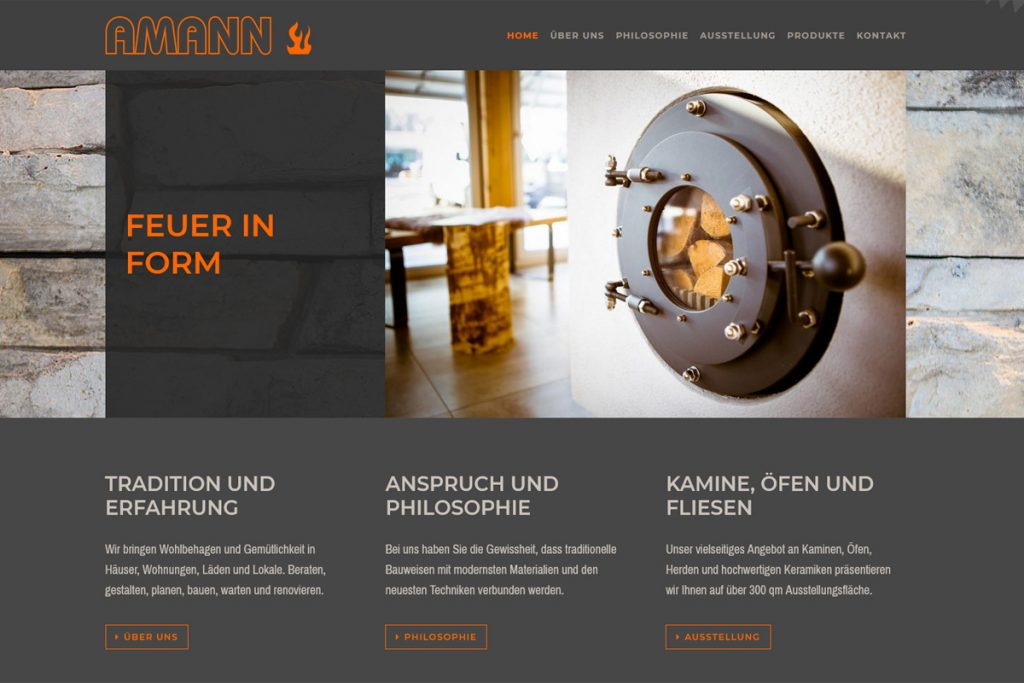 Amann Ofenbau GmbH / Webdesign www.amann-kachelofen.de
